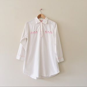 Vintage Emily Lacey pink elephants tunic shirt med